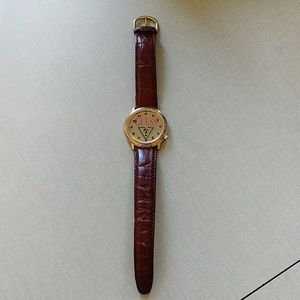 GUESS Vintage Watch 1995 Gold & Brown Leather EUC